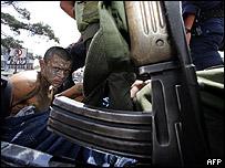 Un miembro de la pandilla Mara 18, de Guatemala.