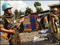 A soldier from the United Nations 103rd India Brigade on patrol in the DR Congo