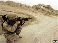 A US marine on patrol in Falluja
