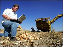 Bob Hale, owner of American Onion, shows how he uses a laptop with wireless capabitlities from a remote, rural site at his onion fields in Hermiston, Oregon