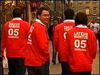 Welsh rugby fans in Edinburgh