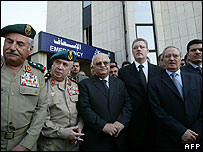 Senior Syrian officials gathered outside hospital after death of Ghazi Kanaan