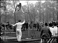The British gymnastics team practice in Hyde Park
