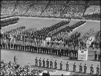 Lord Burghley addresses the opening ceremony of the 1948 Games at Wembley Stadium