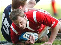 Kevin Morgan scored two first-half tries for Wales against Scotland