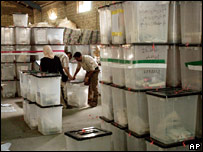 Iraqi election officials handle ballot boxes before counting the votes in Baqouba