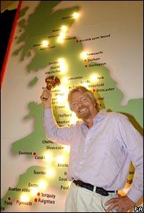 Sir Richard Branson and Virgin franchise map