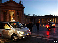 Pope arrives at the Vatican