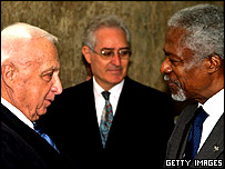 Kofi Annan and Ariel Sharon
