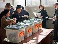 Voters in the Macedonian capital, Skopje