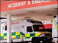 ambulance parked at Accident and Emergency unit