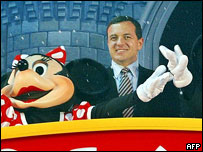 Robert Iger and Minnie Mouse at the Disney channel's Japan launch in 2003