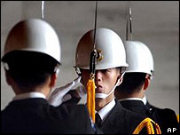Taiwanese soldiers in a 'changing the guard' ceremony