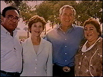 From left to right: Dr Hasan, Laura Bush, George Bush, Seeme Hasan