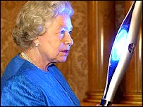 The Queen with the Commonwealth Games baton