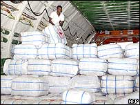 Aid supplies on board an aircraft at Colombo airport, Sri Lanka