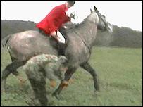 Simon Upton was filmed attacking the anti-hunt protestors