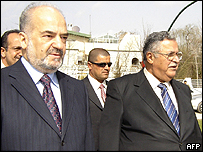 Ibrahim Jaafari, who may become PM, and Kurdish leader Jalal Talabani