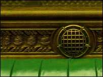 Close-up of seat in the House of Commons, BBC