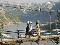 Bridge across the Neelum river in Muzaffarabad