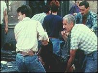 Market blast in Sarajevo in 1995