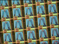 Close-up of Millipede tips, IBM