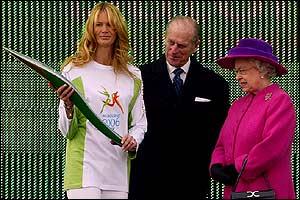 Elle McPherson, the Duke of Edinburgh and the Queen