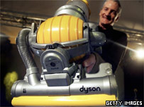 "James Dyson presenting ""The Ball"" vacuum cleaner"