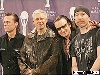 U2 (l-r): Larry Mullen Jr., Adam Clayton, Bono and The Edge