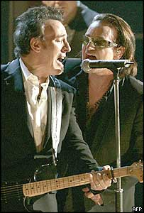 Bruce Springsteen and Bono at a ceremony to celebrate U2's induction into the Rock and Roll Hall of Fame