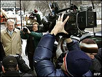Ebbers faces the cameras outside court