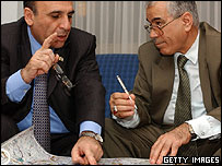 Israeli Defence Minister Shaul Mofaz and Palestinian Interior Minister Nasser Yousef