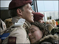 A Dutch soldier returns to Eindhoven airport after serving in Iraq