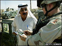 US soldier checks Iraqi's documents