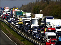 Motorway traffic jam