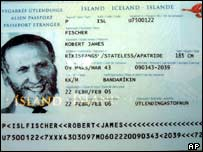 Bobby Fischer's Icelandic passport - 7/3/05