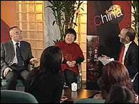Robin Lustig (far left) hosts Talking Point in China