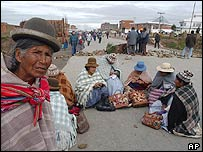 A road block in Bolivia
