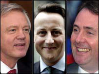 David Davis, David Cameron and Liam Fox