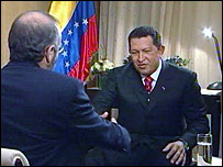 Venezuelan President Hugo Chavez talking to BBC's Robin Lustig