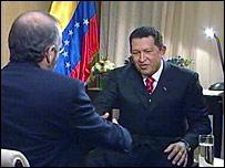 Venezuelan President Hugo Chavez talking to BBC's Robin Lustig
