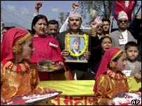 Supporters of Nepal's King Gyanendra