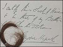 Dickens' hair and note of authentication