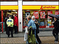 Police outside the Poundstretcher store in Church Street, Cardiff city centre