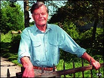 Alan Clark outside his Kent home