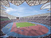 Artist's impression of the internal view of the main 2012 Olympic Stadium