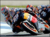 Nicky Hayden leads Max Biaggi