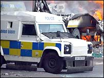 Armoured police vehicles are used in troubled areas