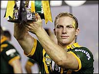 Darren Lockyer lifts the Tri-Nations trophy