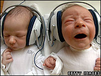 Babies listening to headphones